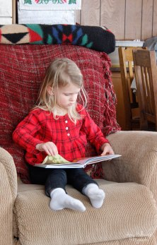 Livy, a real Holloway by blood, reading a book.
